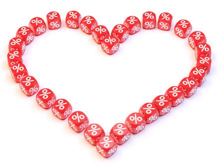 Group a percentage dice create a heart shape