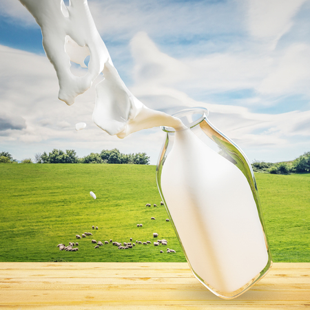 ovejas bebes: Una botella de leche en una tabla con una colina y las ovejas en el fondo Foto de archivo