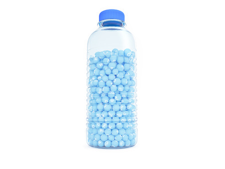 A plastic water bottle full of sphere with h2o write