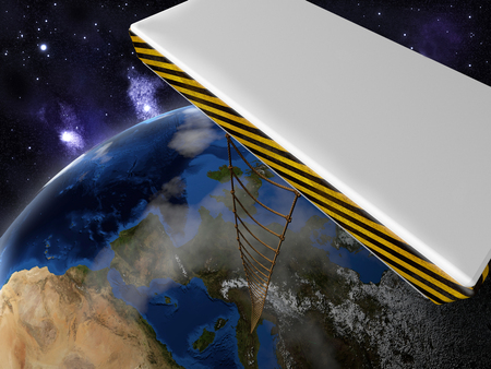 A rope ladder connects a platform in space to the land