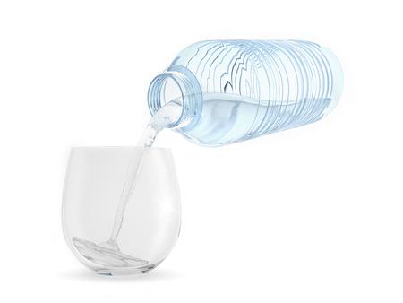 A plastic bottle pours water into a glass Reklamní fotografie