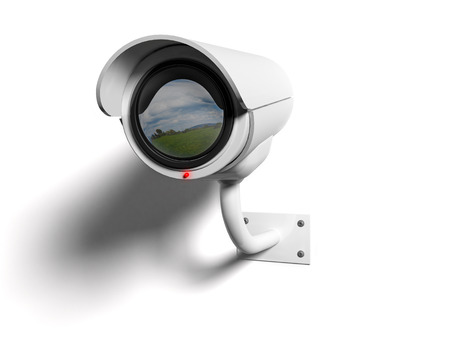 cams: White Security camera with red led and reflected in the lens Stock Photo