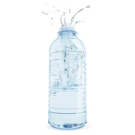 Plastic bottle of water emits splashing, white background