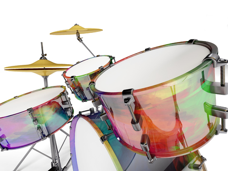 internships: Drum set multicolored seen up close with white background