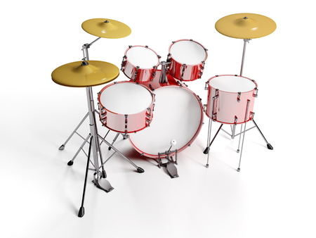 Red drum set with white background