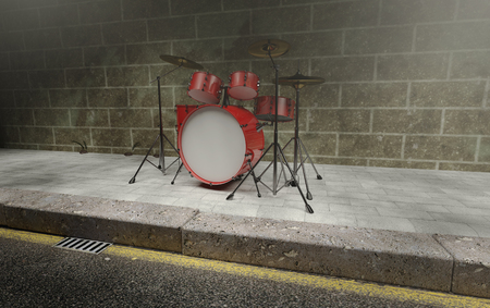 internships: Drum sets placed in a dark street Stock Photo