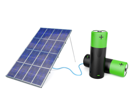 Solar panel attached to two AA batteries