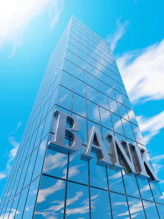 penthouse: Write bank on a skyscraper with blue sky Stock Photo