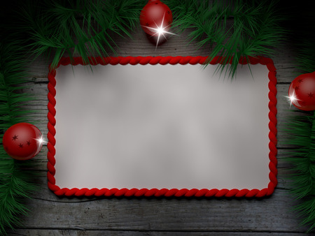 Panel on a wooden table with Christmas decorations