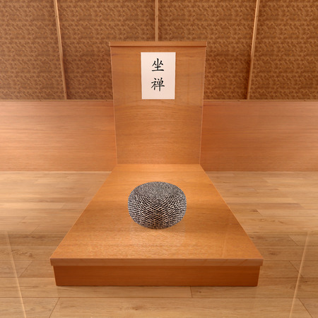 Bench for zen meditation with a zafu, Japanese-style room