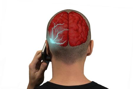 radiacion: Teléfono emite ondas en el cerebro de una persona