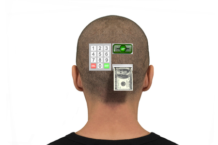 Atm inserted in the back of the head of a person