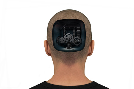 Back of the head open with mechanisms inside Stock Photo