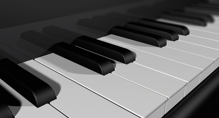 Keyboard of a reflecting piano seen up close