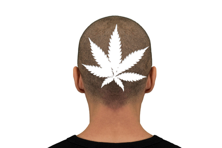 Nape of the man with the outline of a marijuana leaf