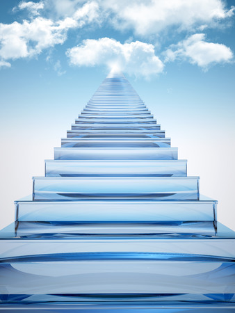 Glass staircase leads to the sky full of clouds Stock Photo
