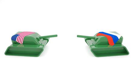 Tension between America and Russia with two tanks facing each other.