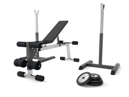 3d rendering of a multifunctional bench for abdominal and lifting with weights