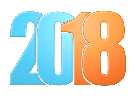 Blue and orange 2018 write with white background