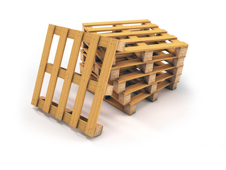 Stack of wooden pallets with white background, 3d rendering