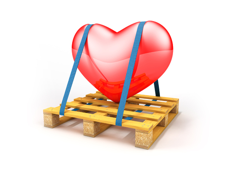 Wooden pallet transport a big red heart, 3d rendering Reklamní fotografie - 91257528