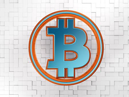 3D rendering of a bitcoin symbol with white block in the background Reklamní fotografie - 98795832