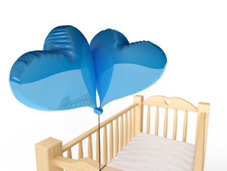 3d rendering of a wooden cradle with blue heart shaped balloons