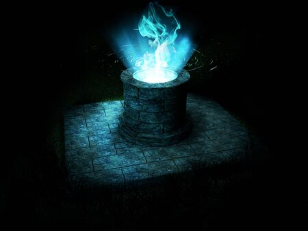 3d render of an ancient magic well with a strong blue light coming out of its interior