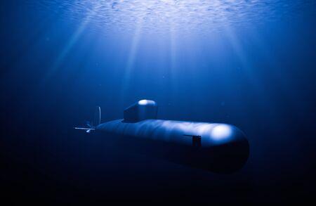 U-Boot-Jagd in Immersion, während Lichtstrahlen in den Wellen es erhellen