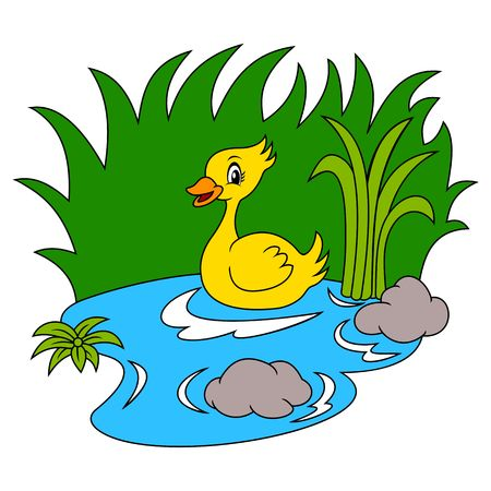 Duck In The River Black And White Coloring Page Royalty Free