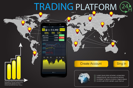 HUD UI for business app .Trade market binary option. Set web flat info-graphic elements, map, diagrams. Abstract virtual graphic. Futuristic user interface premium mobile app.