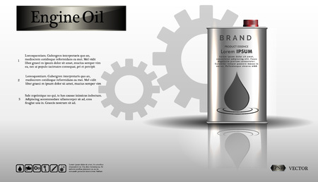 Engine oil in an iron jar.Bottle engine oil on white background with gear, clean vector. Realistic 3D Ilustração