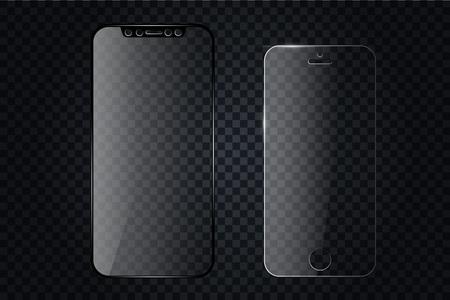 Protecteur d'écran en verre ou couvercle en verre. Protecteur d'écran de vecteur pour smartphone. Accessoire de couverture mobile pour l'affichage. Accessoire mobile Illustration vectorielle EPS10
