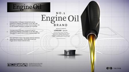 Bottiglia di olio motore. Illustrazione di flussi di olio.