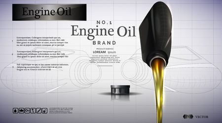 Bottle of engine oil. Oil flows illustration.