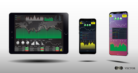 Tablet PC, Smart Phone Screens With Financial Charts and Graphs.