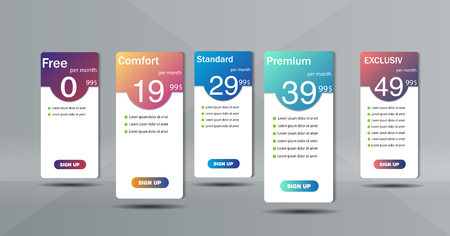 Set of clean price list. Three banners with tariffs. Flat web promo elements.