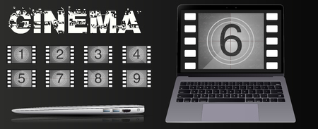 The movie on the laptop. Movie countdown numbers vector set. The countdown to the start of the old film.