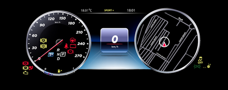Realistic Car Dashboard. Stock Illustratie