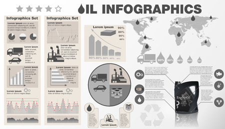 Oil industry infographic vector illustration. Template with map, and Bottle engine oil icons, charts and elements for web design. Production, transportation. Stock Illustratie