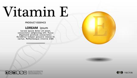 Vitamin E glitter gold iconon a white background. 3d illustration of Vitamin drop pill capsule. Shining golden essence droplet. Vector illustration. Illustration