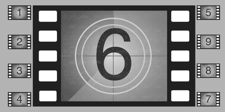 Movie countdown numbers vector set. old film.