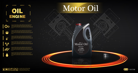 Bottle engine oil on a background a motor-car piston, Technical illustrations. Realistic 3D vector image. canister ads with logo Blueprints. Vettoriali