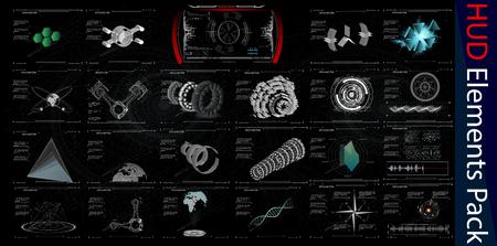 HUD Elements Mega Pack. Elements. Sci Fi Futuristic User Interface. Menu Button. Vector Illustration.3d