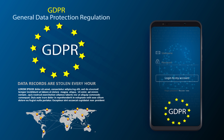 Padlock and EU flag inside smartphone and EU map, symbolizing the EU General Data Protection Regulation or GDPR. Designed to harmonize data privacy laws across Europe Illustration