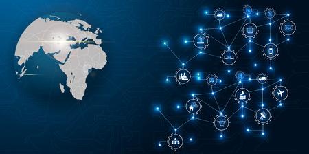 Rete di comunicazione intorno alla Terra utilizzata per connessioni internazionali in tutto il mondo per finanza, banche, Internet, IoT e criptovalute, concetto fintech,
