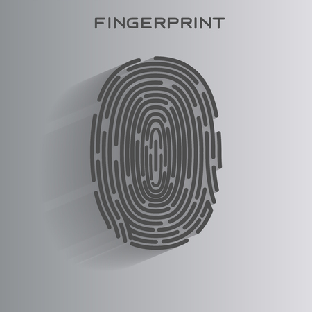 Black Fingerprint Identification Symbol. Vector