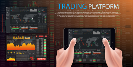 vector Trade dashboard,Market trade. Binary option. Trading platform, account. Press Call and Win transaction. Money Making, business. Market analysis. Investing. Screen of user interface for tablet
