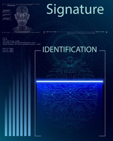 Escaneo de dedos en estilo futurista. Identificación biométrica con HUD futurista