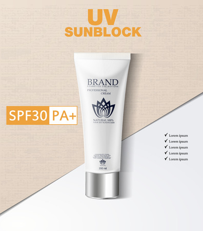 Cosmetic magazine template, fashion makeup trends brochure with foundation, sunblocks  3d illustration.Realistic  Detailed Sunscreen Sun Protection 일러스트